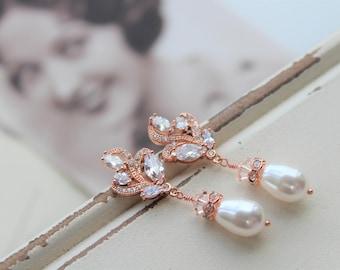 Rose Gold Art Deco Earrings , Vintage Style Crystal Pearl Earrings, Bridal Earrings,  Wedding Earrings,  Pearl Drop Earrings,  Stud Earrings