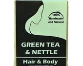 Green Tea and Nettle Shampoo Bar - Natural Shampoo - Green Tea Solid Shampoo Bar -