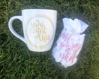 Hand crafted coffee mug & wine glass set