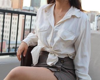 crisp white silk button down
