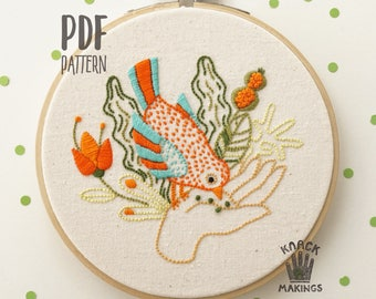 Bird In My Hand - PDF embroidery pattern, beginner embroidery hoop art, bird & flower embroidery