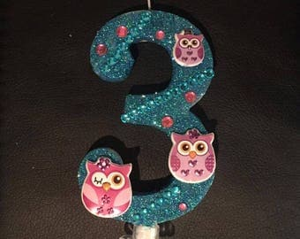 Owl Large Birthday Candle/Owl Birthday Candle/Owl Number Candle/Owl Cake Topper/Owl Candle/Owl Cake/Size: 6x4.7 In