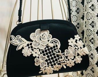Black Satin Purse with vintage lace