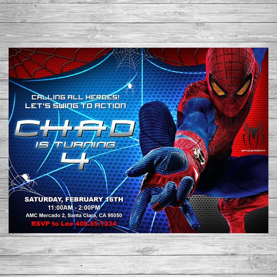 Spiderman birthday invitation spiderman printable invite spiderman il570xn stopboris Image collections
