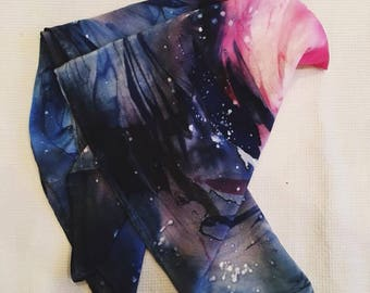 Orion nebula astronomer inspired hand dyed silk neck scarf