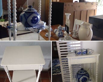Incl. delivery: Occasional table, telephone table, lamp table, antique, white shabby