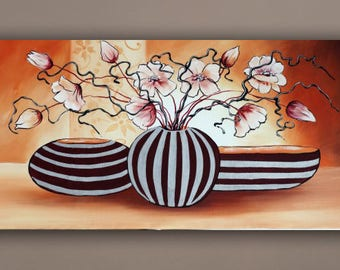 Abstract painting, flower painting on canvas