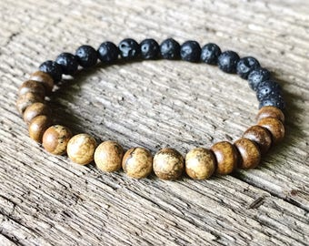 Jasper stone 6mm beaded bracelet, essential oil bracelet, lava bead bracelet,wood bead bracelet, natural stone bracelet, diffuser, boho