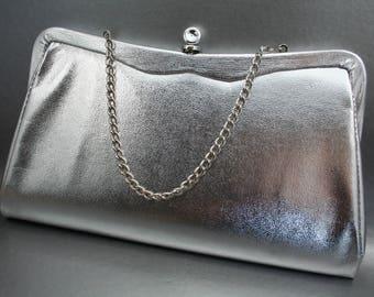 1980s Metallic Clutch, Sparkling Silver Purse with Purple Interior, Admiral Clutch, Silver Clutch with Chain, Silver Wedding Handbag