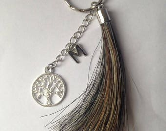 Key chain horsehair with two charms/letters