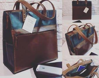 Hadmade ladies tote. Original leather bag. Square handbag.