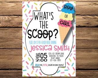 Whats the Scoop Gender Reveal Digital Invitation, Ice Cream Gender Reveal, Unique Gender Reveal