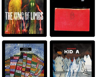 Radiohead (4) Coaster Set - Four Different Album Covers recreated on soft absorbent rubber/fabric coasters Gift Idea