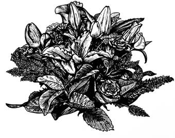 Original Ink Botanical Artwork - Black and white line art illustration - Valentine's Day - floral elegant flower bunch bouquet lilies roses