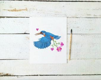 Instant Digital Download | Kingfisher Watercolour Print | 8 x 10 Print | Wildlife Art | Bird Art Print | Bird Watercolour