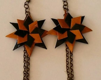 Origami Jewelry - Origami Star Earrings -Japanese Washi Paper Earrings- Drop earrings