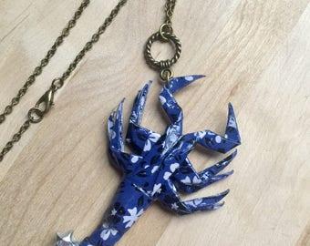 Scorpion Origami Necklace , Scorpius, Scorpio, Japanese Washi Paper, Horoscope Pendant, Zodiac Sign