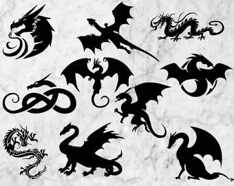 Dragons Svg, Dragon cut files, dxf, png, eps files for cricut and silhouette, Tribal dragon tattoo scrapbook, dragon silhouette svg