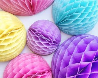 Unicorn Paper Honeycomb Balls Set Tissue Paper Pink Honeycomb Balls Unicorn Birthday Decorations Paper Party Balls Unicorn Nursery Decor