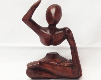 Lotus Pose Sculpture, Handcrafted of Suar Wood in Mas, Bali, Indonesia