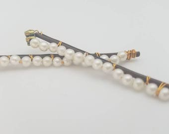 Pearl hair pins, wire wrapped bobby pins, wedding hair accessories
