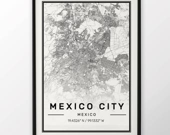 Mexico City Map Print, Modern Contemporary poster in sizes 50x70 fit for Ikea frame 19.5 x 27.5 All city available London, New York Paris