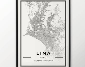 Lima City Map Print Modern Contemporary poster in sizes 50x70 fit for Ikea frame 19.5 x 27.5 All city available London York Paris