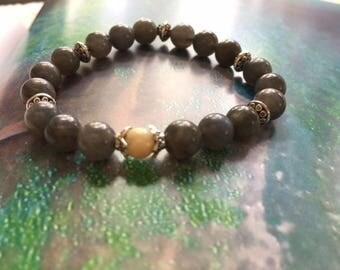 labradorite with african opal and antique silver stretch bracelet