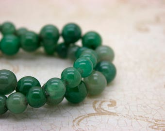 "Africa Jade Smooth Round Gemstone 8mm 10mm Beads (8"" strand - 2.5 mm hole)"