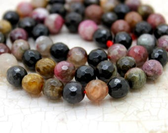 Pink Tourmaline Beads, Natural Multi-Color Green Tourmaline Faceted Round Beads (4mm 6mm 8mm 10mm)