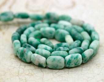 Natural Matte Mountain Jade Flat Rectangle Beads Gemstone