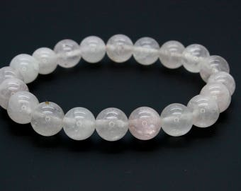 "Opalite Gemstone Beads Size 10mm. Length 8"" Semi-Precious Gemstone Elastic Cord Bracelet Accessories"