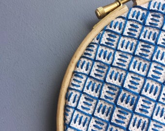Blue on pink rose embroidery hoop art, modern embroidered wall art, modern blackwork, geometric embroidery, hoop art, 5 inch hoop