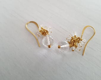 Crystal quartz briolette, dangle earrings, wire wrapped, 22 ct gold plated earrings