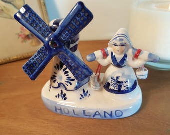 Dutch Delft Blue Netherlands Holland ornament figurine of girl with yoke and spinning windmill