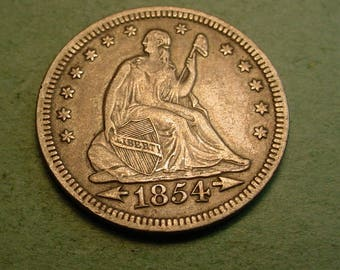 1854 Arrows Seated Liberty Quarter Extra Fine  / Insurance included in SH  <>ET5381