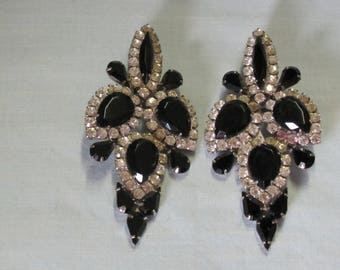 70's Clip On Earrings Rhinestones Black & White