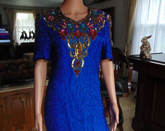 Blue And Gold Sequin Silk 80's Dress  Size PL (Petite Large)