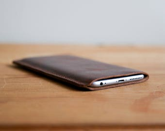 Leather iPhone Sleeve - iPhone Sleeve - iPhone Accessories- Leather Sleeve - Corporate Gift - Camel Leather Sleeve - Brown Leather Sleeve
