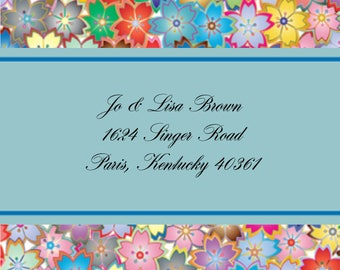Tiny Colorful Flowers Address Labels