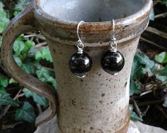 Black Gemstone Earrings, Natural Jet Gagate Dangle Earrings with Sterling Silver Wire, Gemstone Jewelry