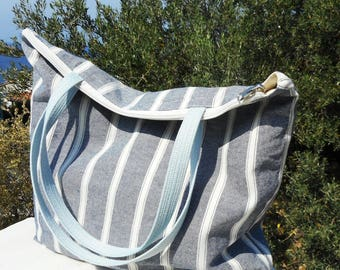 stripe tote bag canvas ,zippered tote bag ,  zippered beach bag  , striped tote zipper , srtipes beach bag , zippered beach bag