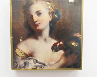 Girl with Parrot Art, Exotic Bird Art, Parrot Art, Small Wall Art, Small Wall Decor, Birthday Gift, Housewarming Gift