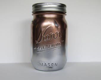 Rose Gold and Silver Distressed Ombre Jar