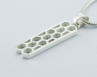 SOLID STERLING SILVER -  Yummy Honeycomb Pendant