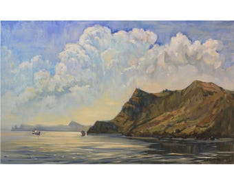 Clouds painting Seascape Original painting Clouds landscape Colorful art Plein air painting Wall painting art Oil on canvas by A. Onipchenko