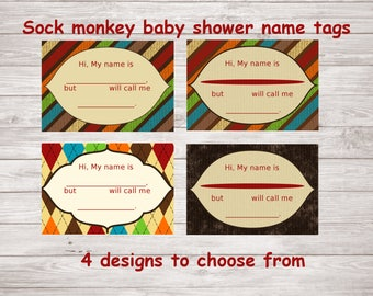 Sock Monkey Baby Shower Sprinkle Name Tags