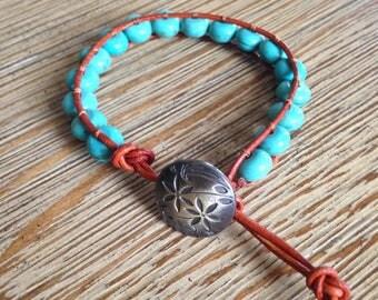 Beaded bracelet, turquoise beaded bracelet, leather bracelet, leather beaded bracelet