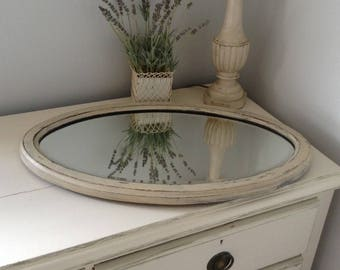 Vintage, Shabby Chic, Painted, Distressed, Oval Mirror