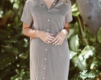 Vintage Silk Button Down Dress